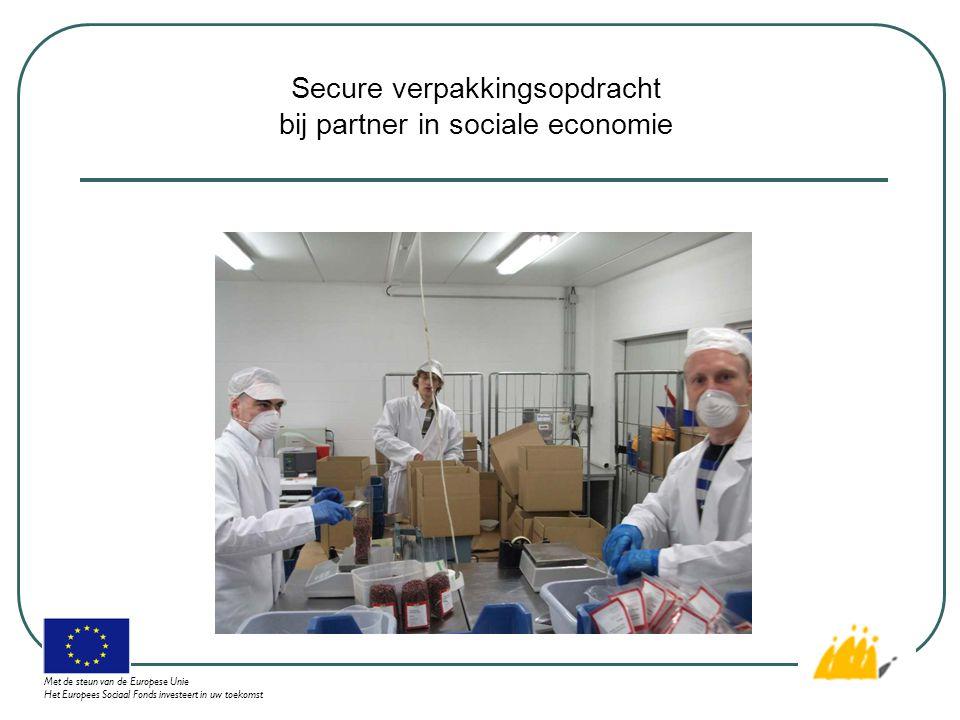 Secure verpakkingsopdracht bij partner in sociale economie Met de steun van de Europese Unie Het Europees Sociaal Fonds investeert in uw toekomst