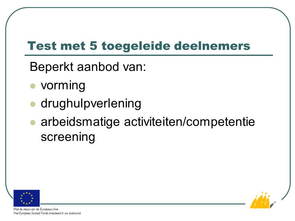Test met 5 toegeleide deelnemers Beperkt aanbod van: vorming drughulpverlening arbeidsmatige activiteiten/competentie screening Met de steun van de Europese Unie Het Europees Sociaal Fonds investeert in uw toekomst