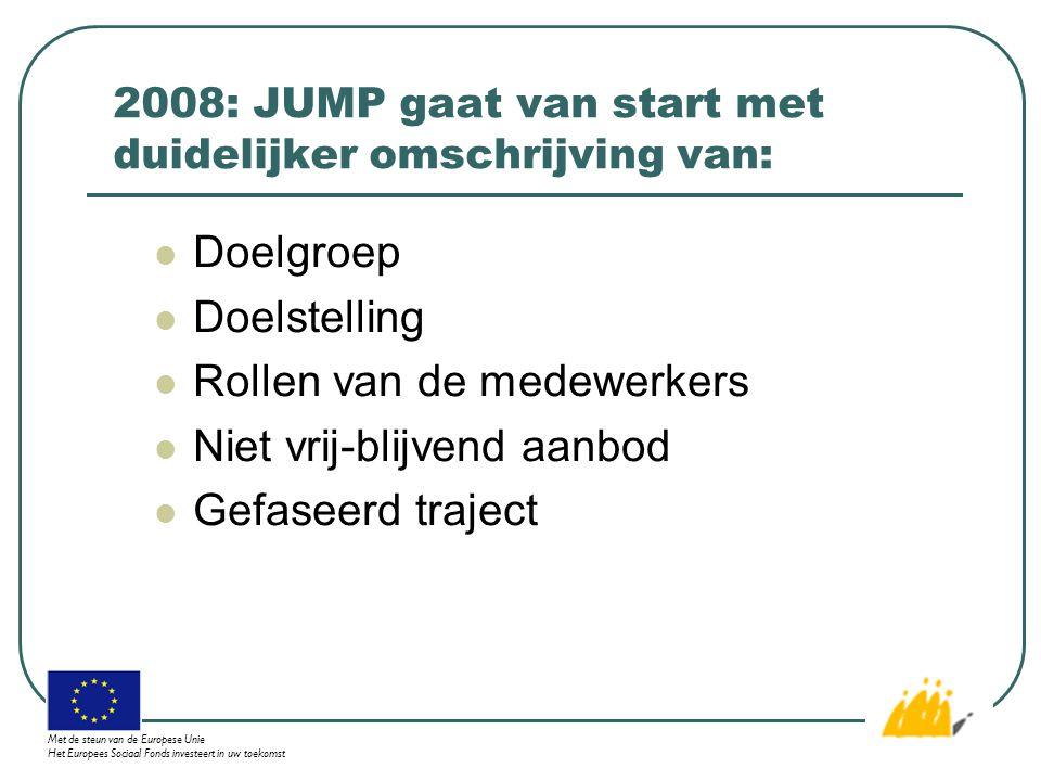 2008: JUMP gaat van start met duidelijker omschrijving van: Doelgroep Doelstelling Rollen van de medewerkers Niet vrij-blijvend aanbod Gefaseerd traject Met de steun van de Europese Unie Het Europees Sociaal Fonds investeert in uw toekomst