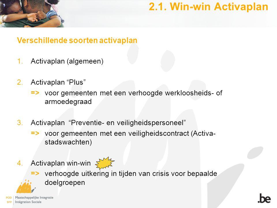 """2.1. Win-win Activaplan Verschillende soorten activaplan 1.Activaplan (algemeen) 2.Activaplan """"Plus"""" =>voor gemeenten met een verhoogde werkloosheids-"""