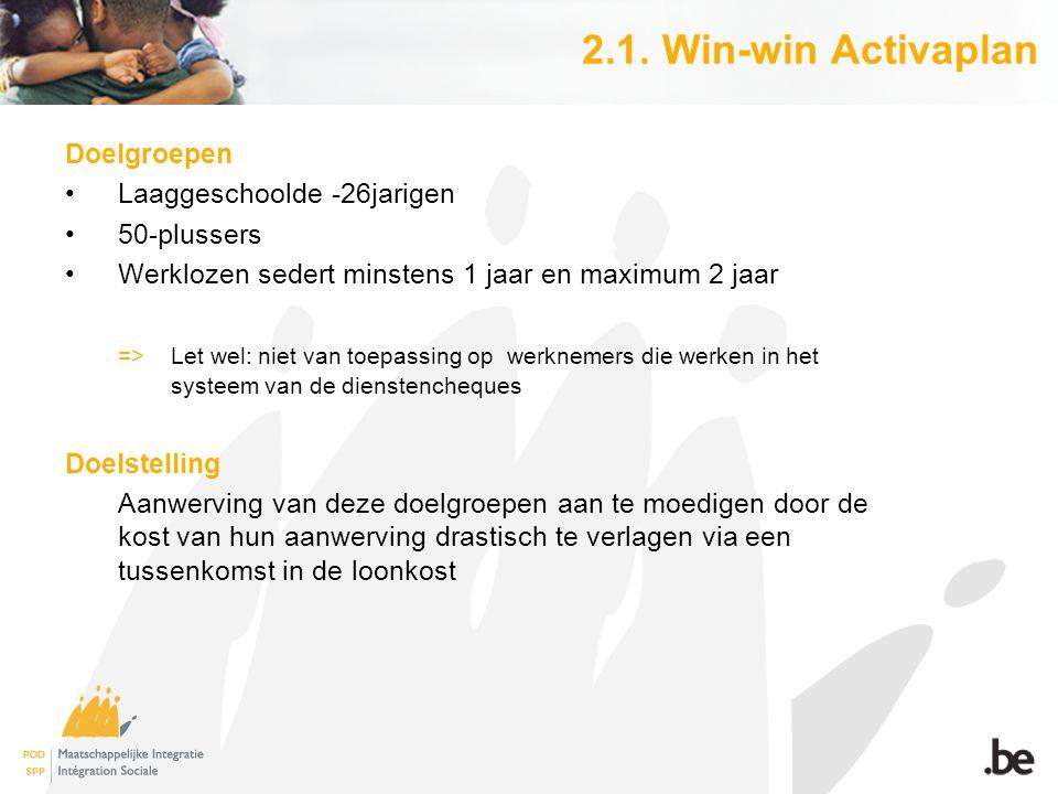 2.1. Win-win Activaplan Doelgroepen Laaggeschoolde -26jarigen 50-plussers Werklozen sedert minstens 1 jaar en maximum 2 jaar => Let wel: niet van toep