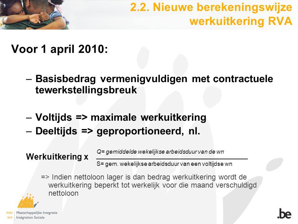 2.2. Nieuwe berekeningswijze werkuitkering RVA Voor 1 april 2010: –Basisbedrag vermenigvuldigen met contractuele tewerkstellingsbreuk –Voltijds => max