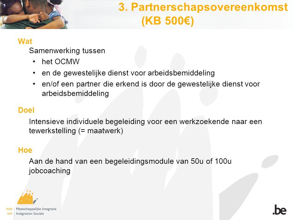 3. Partnerschapsovereenkomst (KB 500€) Wat Samenwerking tussen het OCMW en de gewestelijke dienst voor arbeidsbemiddeling en/of een partner die erkend