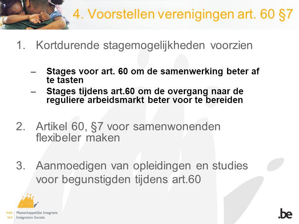 4. Voorstellen verenigingen art. 60 §7 1.Kortdurende stagemogelijkheden voorzien –Stages voor art. 60 om de samenwerking beter af te tasten –Stages ti