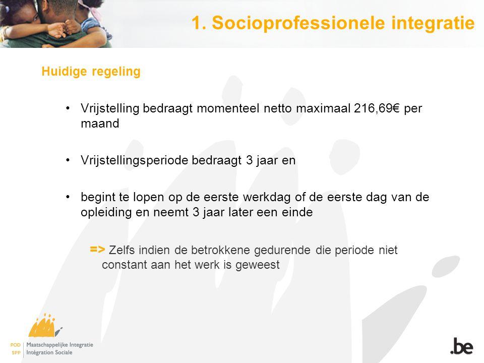 1. Socioprofessionele integratie Huidige regeling Vrijstelling bedraagt momenteel netto maximaal 216,69€ per maand Vrijstellingsperiode bedraagt 3 jaa