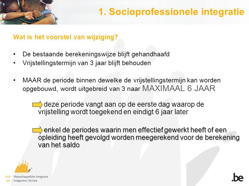 1. Socioprofessionele integratie Wat is het voorstel van wijziging? De bestaande berekeningswijze blijft gehandhaafd Vrijstellingstermijn van 3 jaar b