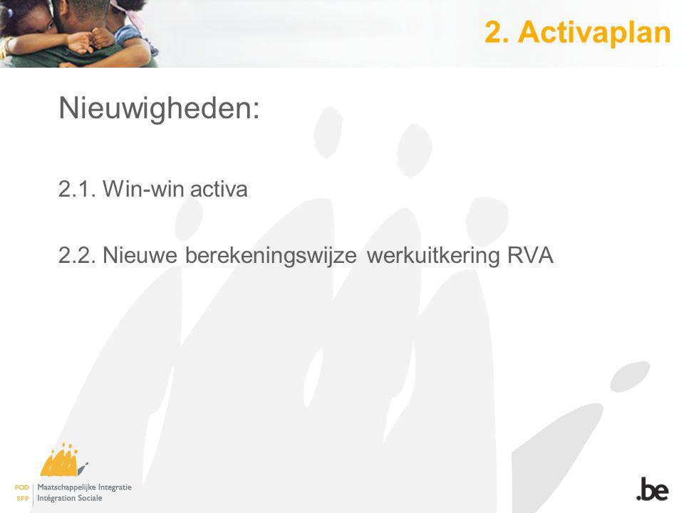 2. Activaplan Nieuwigheden: 2.1. Win-win activa 2.2. Nieuwe berekeningswijze werkuitkering RVA