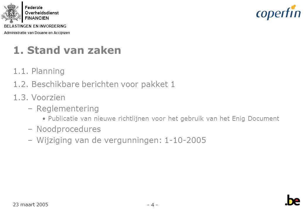 Federale Overheidsdienst FINANCIEN BELASTINGEN EN INVORDERING Administratie van Douane en Accijnzen 23 maart 2005 - 5 - 1.1.