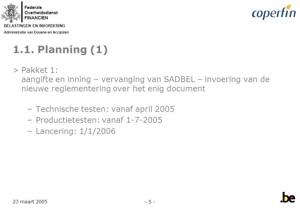 Federale Overheidsdienst FINANCIEN BELASTINGEN EN INVORDERING Administratie van Douane en Accijnzen 23 maart 2005 - 6 - 1.1.