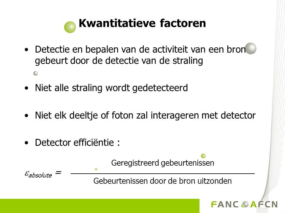 Detectie en bepalen van de activiteit van een bron gebeurt door de detectie van de straling Niet alle straling wordt gedetecteerd Niet elk deeltje of