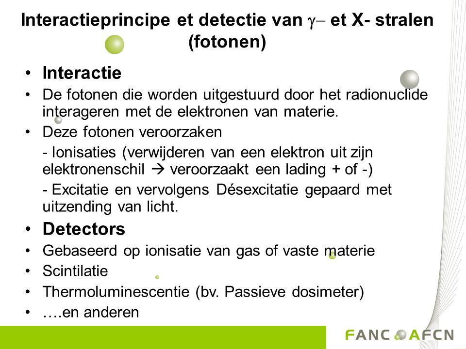 Interactieprincipe et detectie van  et X- stralen (fotonen) Interactie De fotonen die worden uitgestuurd door het radionuclide interageren met de el