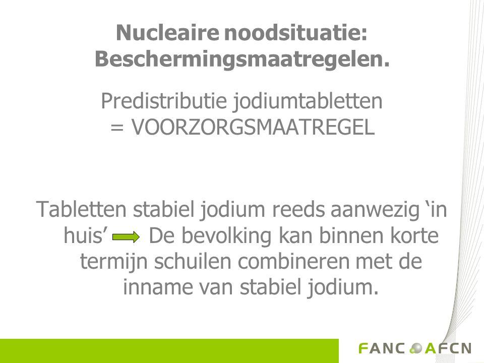 Nucleair ongeval: Beschermingsmaatregelen. Predistributie jodiumtabletten = VOORZORGSMAATREGEL