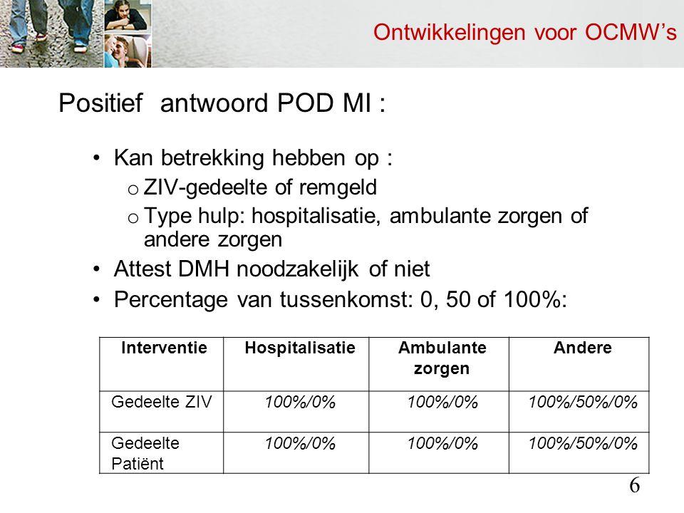 Ontwikkelingen voor OCMW's Positief antwoord POD MI : Kan betrekking hebben op : o ZIV-gedeelte of remgeld o Type hulp: hospitalisatie, ambulante zorgen of andere zorgen Attest DMH noodzakelijk of niet Percentage van tussenkomst: 0, 50 of 100%: 6 InterventieHospitalisatieAmbulante zorgen Andere Gedeelte ZIV100%/0% 100%/50%/0% Gedeelte Patiënt 100%/0% 100%/50%/0%