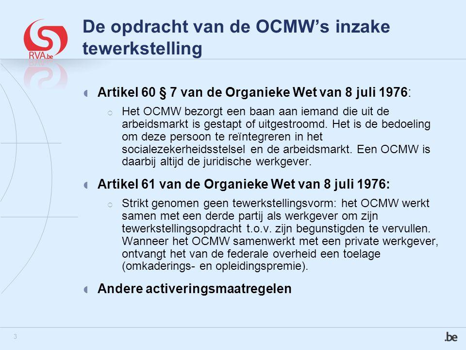 3 De opdracht van de OCMW's inzake tewerkstelling  Artikel 60 § 7 van de Organieke Wet van 8 juli 1976:  Het OCMW bezorgt een baan aan iemand die uit de arbeidsmarkt is gestapt of uitgestroomd.