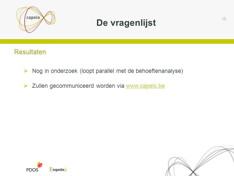 De vragenlijst 15 Resultaten  Nog in onderzoek (loopt parallel met de behoeftenanalyse)  Zullen gecommuniceerd worden via www.capelo.bewww.capelo.be
