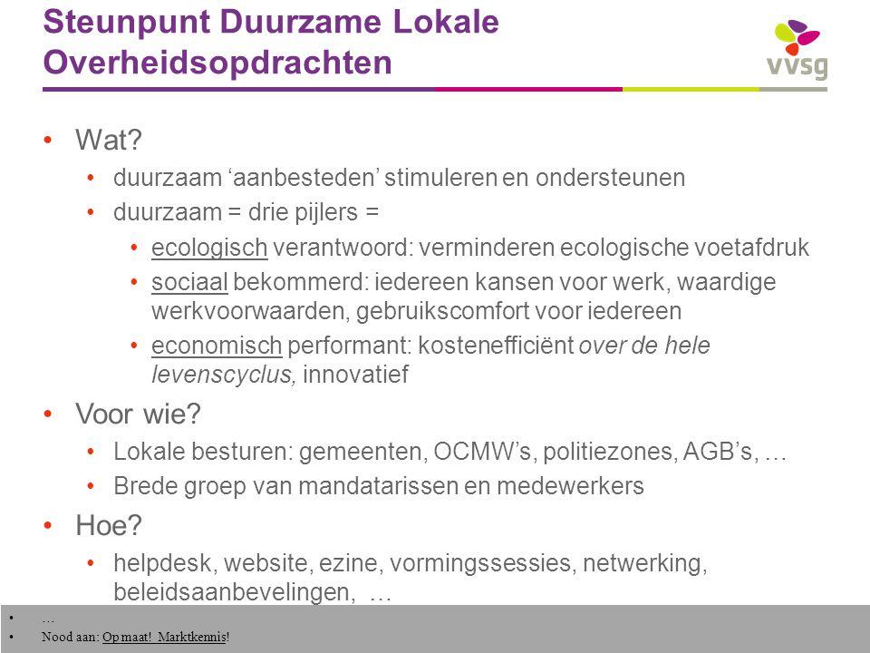 VVSG - Lokale praktijk in Vlaanderen tal van gemeenten al vele jaren beroep doend op sociale economie bv.