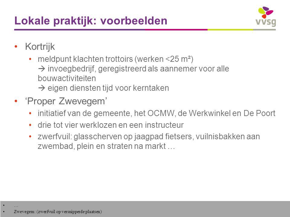 VVSG - Lokale praktijk – Turnhout (1) (2003) start als proefproject, OCMW-actie + behoefte bij stad Opruimen zwerfvuil Manueel onkruid verwijderen Groenonderhoud Nakijken speelpleintjes Herstellen straatmeubilair succes  uitbreiding straten en pleinen, markten, kermis, kerkhof, stadsbedrijven, vuilbakken, speelpleinen … Tevreden over kwaliteit van dienstverlening, incl.