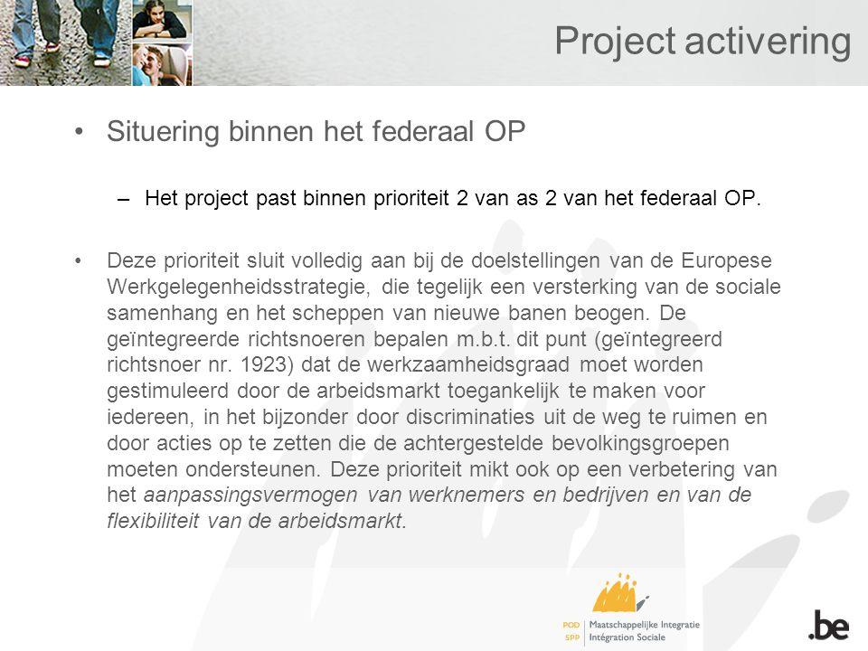 Project activering Situering binnen het federaal OP –Het project past binnen prioriteit 2 van as 2 van het federaal OP.