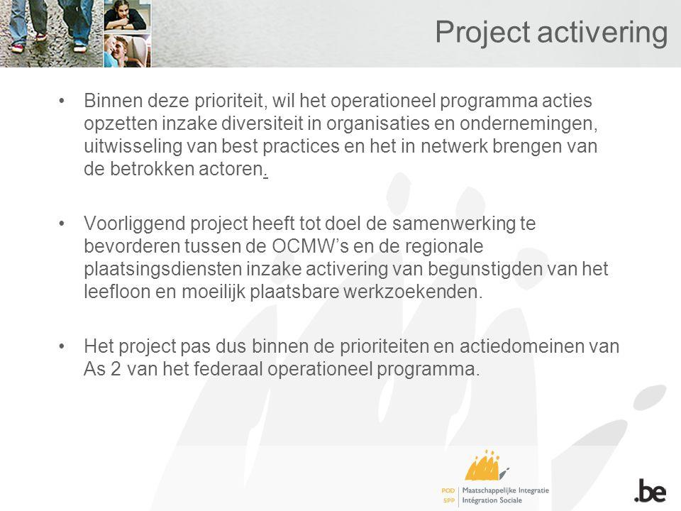 Project activering Binnen deze prioriteit, wil het operationeel programma acties opzetten inzake diversiteit in organisaties en ondernemingen, uitwisseling van best practices en het in netwerk brengen van de betrokken actoren.