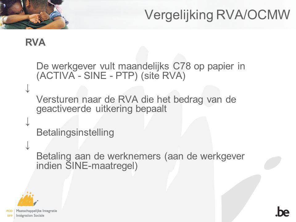 Vergelijking RVA/OCMW RVA De werkgever vult maandelijks C78 op papier in (ACTIVA - SINE - PTP) (site RVA) ↓ Versturen naar de RVA die het bedrag van d