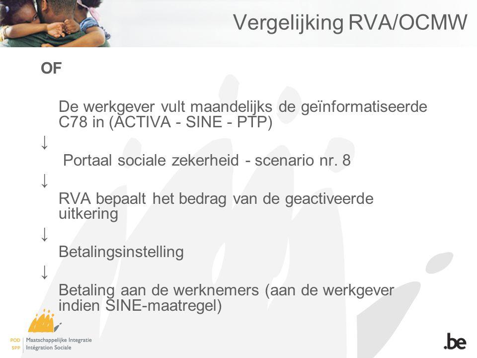 Vergelijking RVA/OCMW OF De werkgever vult maandelijks de geïnformatiseerde C78 in (ACTIVA - SINE - PTP) ↓ Portaal sociale zekerheid - scenario nr. 8