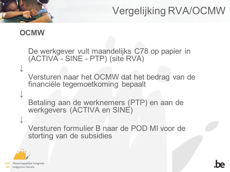 Vergelijking RVA/OCMW OCMW De werkgever vult maandelijks C78 op papier in (ACTIVA - SINE - PTP) (site RVA) ↓ Versturen naar het OCMW dat het bedrag va
