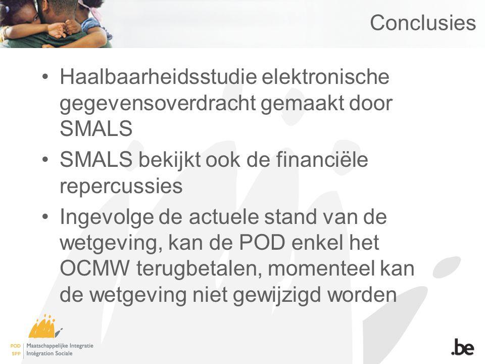 Conclusies Haalbaarheidsstudie elektronische gegevensoverdracht gemaakt door SMALS SMALS bekijkt ook de financiële repercussies Ingevolge de actuele s