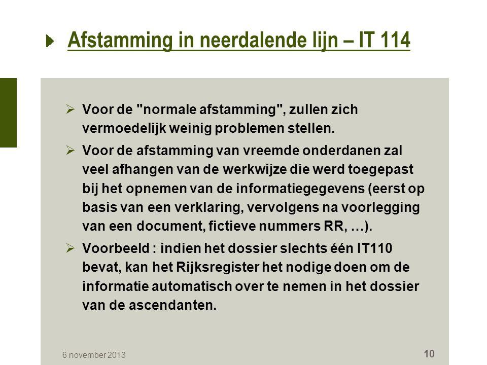 Afstamming in neerdalende lijn – IT 114  Voor de normale afstamming , zullen zich vermoedelijk weinig problemen stellen.