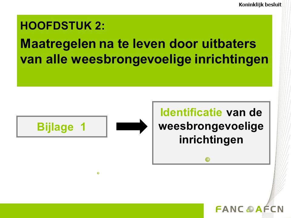 Bijlage 1 Identificatie van de weesbrongevoelige inrichtingen Koninklijk besluit HOOFDSTUK 2: Maatregelen na te leven door uitbaters van alle weesbron