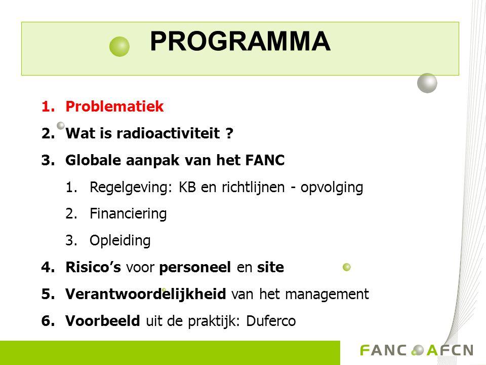 PROGRAMMA 1.Problematiek 2.Wat is radioactiviteit ? 3.Globale aanpak van het FANC 1.Regelgeving: KB en richtlijnen - opvolging 2.Financiering 3.Opleid