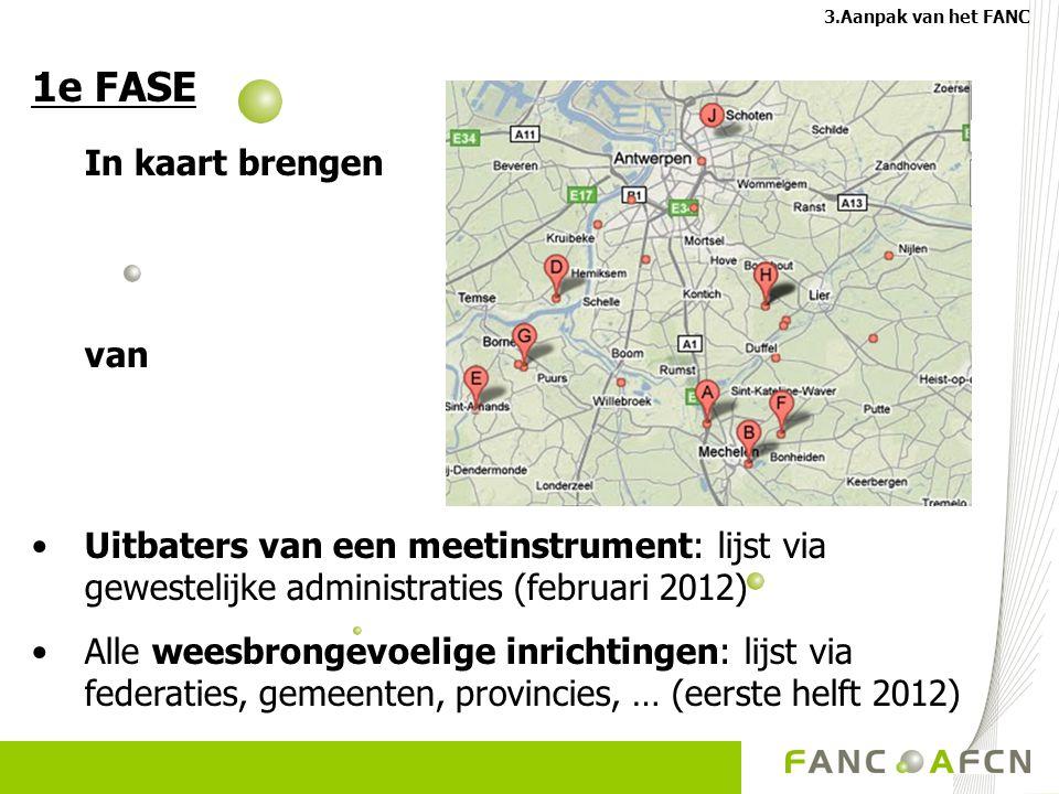 1e FASE In kaart brengen van Uitbaters van een meetinstrument: lijst via gewestelijke administraties (februari 2012) Alle weesbrongevoelige inrichting