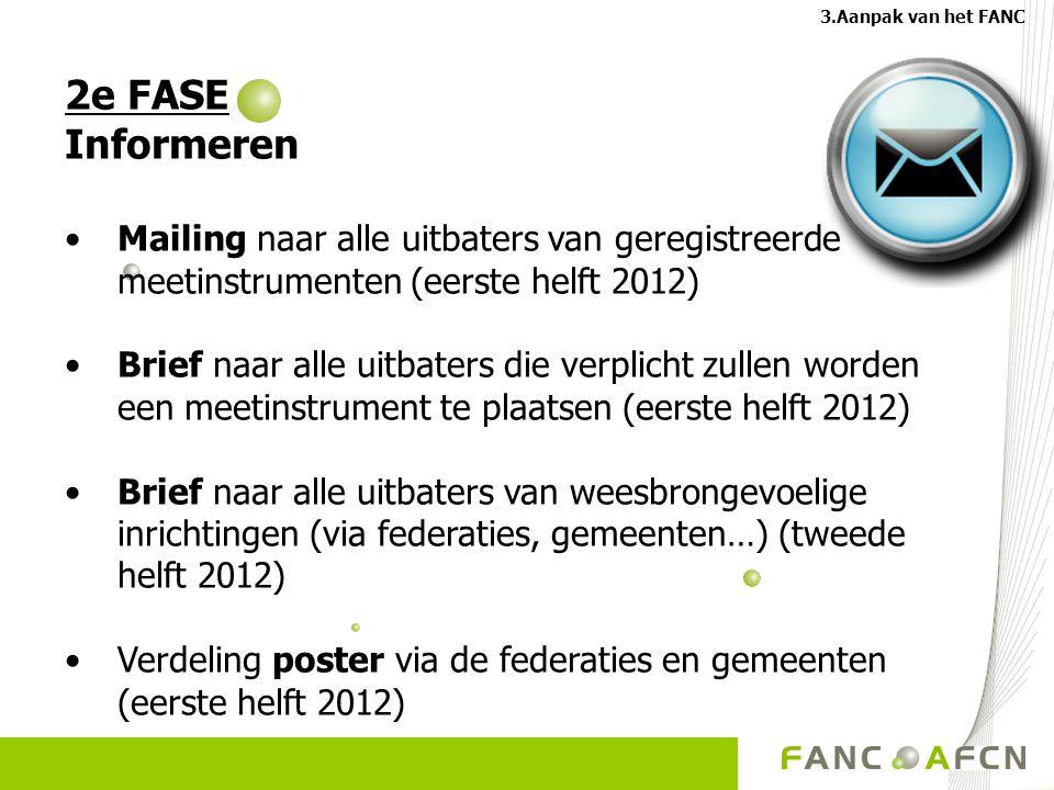 2e FASE Informeren Mailing naar alle uitbaters van geregistreerde meetinstrumenten (eerste helft 2012) Brief naar alle uitbaters die verplicht zullen