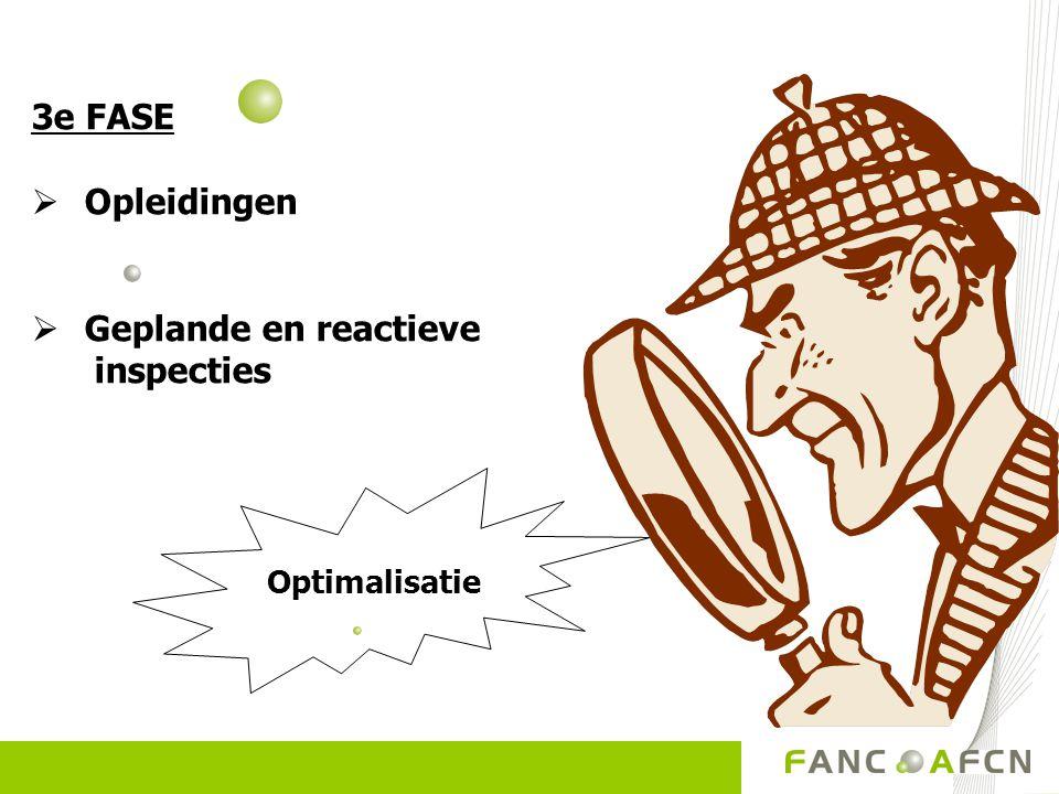 3e FASE  Opleidingen  Geplande en reactieve inspecties Optimalisatie