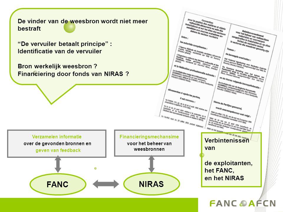 """Financieringsmechansime voor het beheer van weesbronnen NIRAS FANC De vinder van de weesbron wordt niet meer bestraft """"De vervuiler betaalt principe"""""""