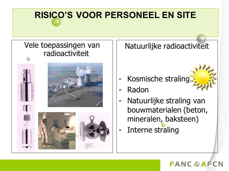 Vele toepassingen van radioactiviteit Natuurlijke radioactiviteit -Kosmische straling -Radon -Natuurlijke straling van bouwmaterialen (beton, minerale