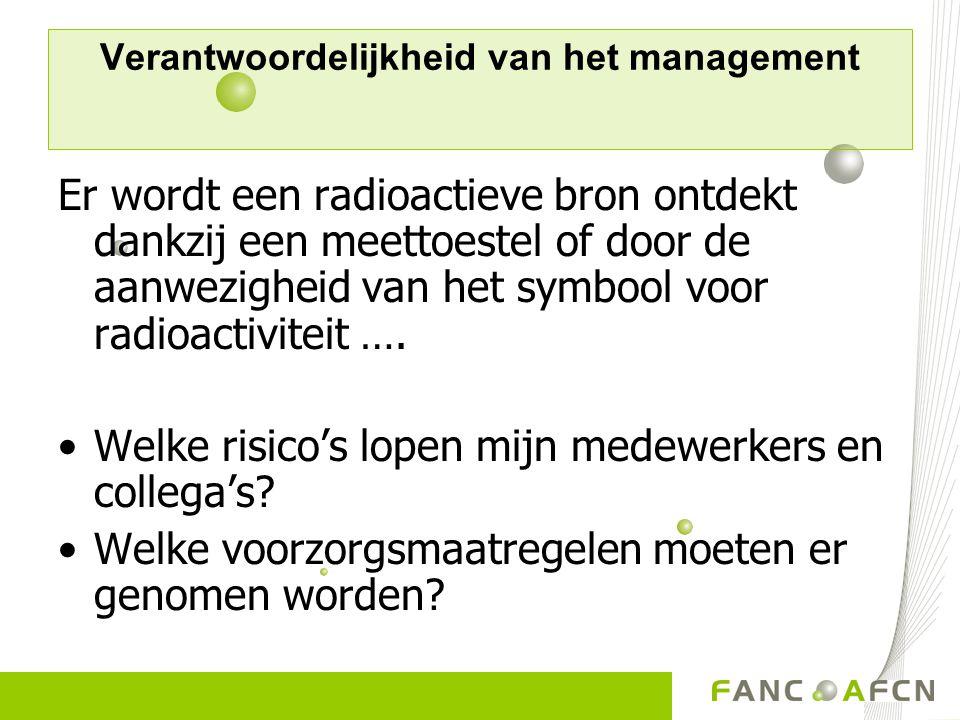 Verantwoordelijkheid van het management Er wordt een radioactieve bron ontdekt dankzij een meettoestel of door de aanwezigheid van het symbool voor ra