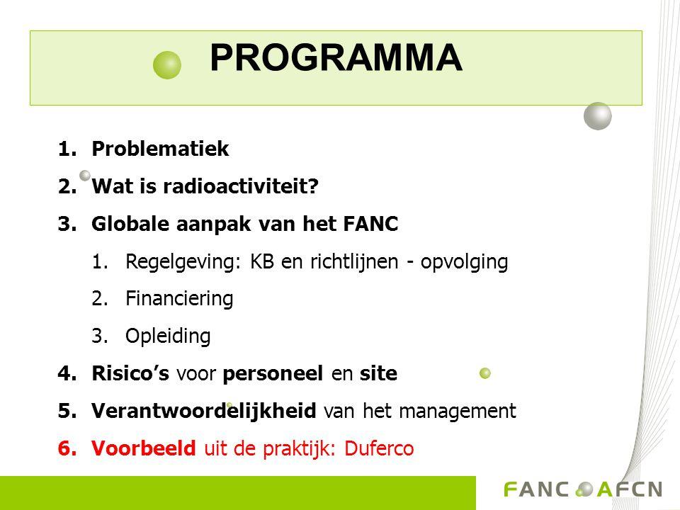 PROGRAMMA 1.Problematiek 2.Wat is radioactiviteit? 3.Globale aanpak van het FANC 1.Regelgeving: KB en richtlijnen - opvolging 2.Financiering 3.Opleidi