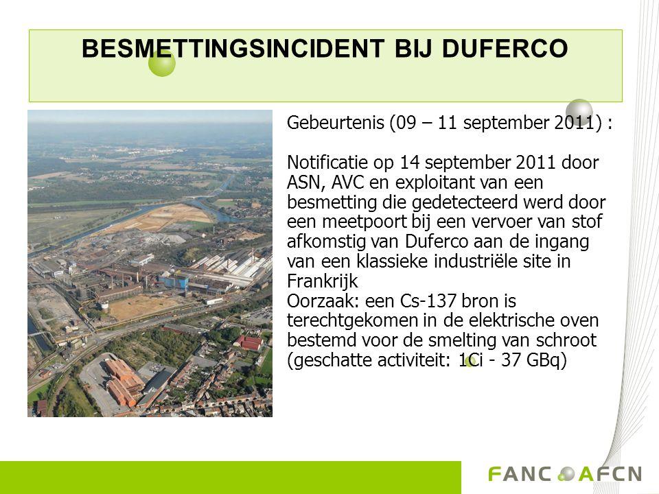 BESMETTINGSINCIDENT BIJ DUFERCO Gebeurtenis (09 – 11 september 2011) : Notificatie op 14 september 2011 door ASN, AVC en exploitant van een besmetting
