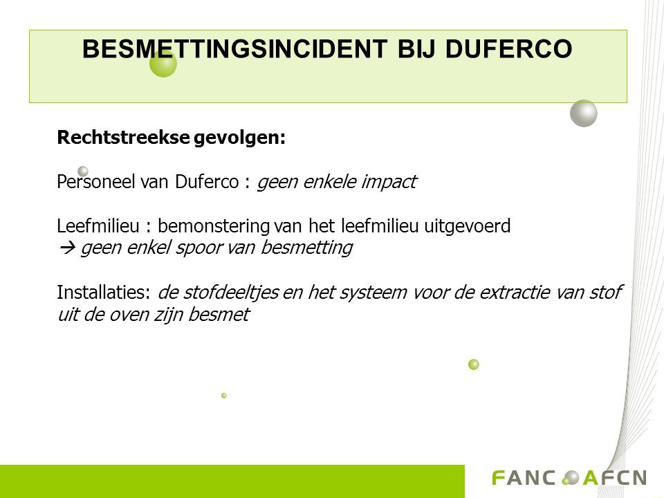 BESMETTINGSINCIDENT BIJ DUFERCO Rechtstreekse gevolgen: Personeel van Duferco : geen enkele impact Leefmilieu : bemonstering van het leefmilieu uitgev
