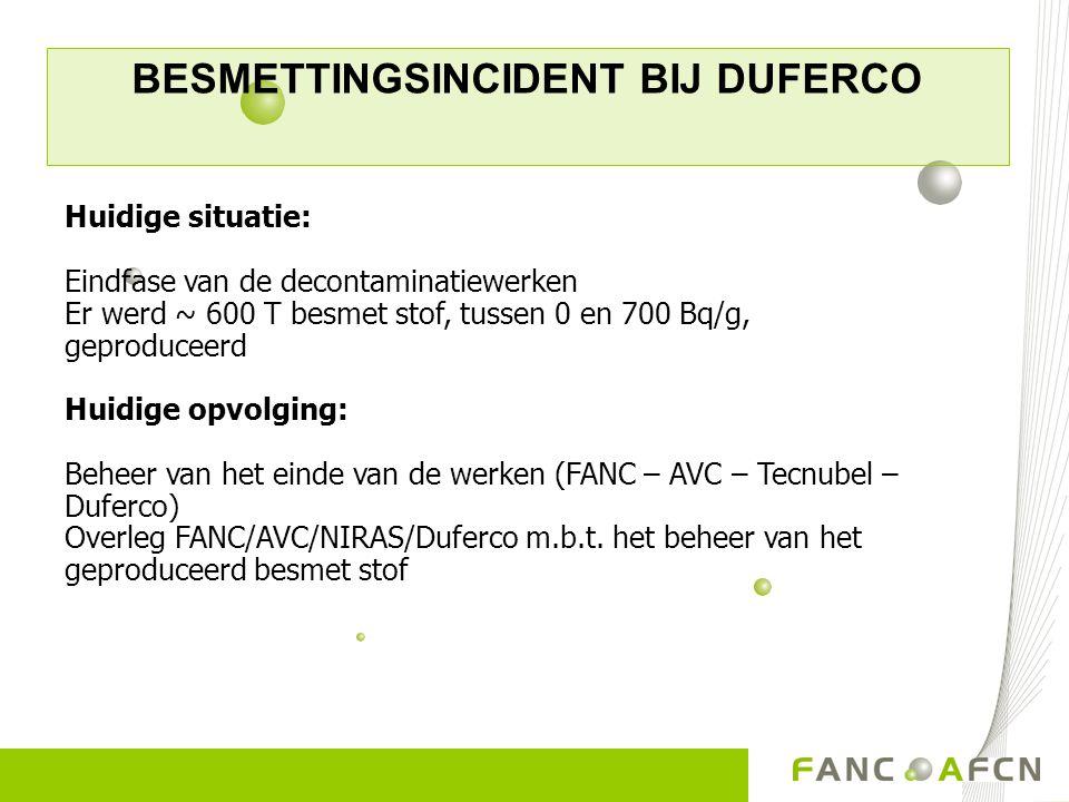 BESMETTINGSINCIDENT BIJ DUFERCO Huidige situatie: Eindfase van de decontaminatiewerken Er werd ~ 600 T besmet stof, tussen 0 en 700 Bq/g, geproduceerd