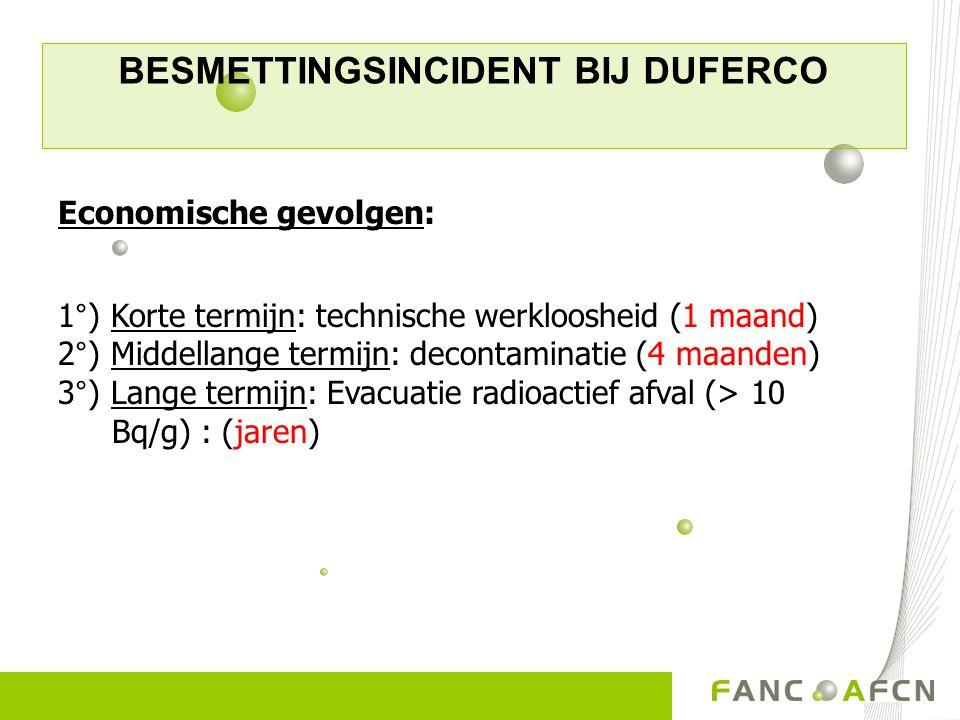 BESMETTINGSINCIDENT BIJ DUFERCO Economische gevolgen: 1°) Korte termijn: technische werkloosheid (1 maand) 2°) Middellange termijn: decontaminatie (4