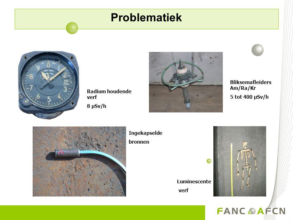Problematiek Radium houdende verf 8 µSv/h Bliksemafleiders Am/Ra/Kr 5 tot 400 µSv/h Ingekapselde bronnen Luminescente verf