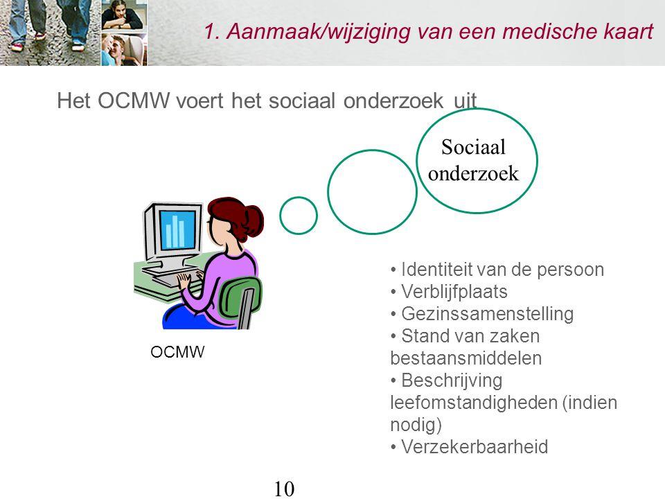 10 1. Aanmaak/wijziging van een medische kaart Het OCMW voert het sociaal onderzoek uit Identiteit van de persoon Verblijfplaats Gezinssamenstelling S