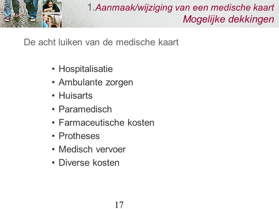 17 1. Aanmaak/wijziging van een medische kaart Mogelijke dekkingen De acht luiken van de medische kaart Hospitalisatie Ambulante zorgen Huisarts Param