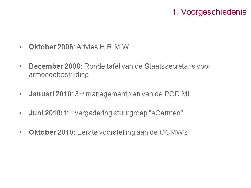 1. Voorgeschiedenis Oktober 2006: Advies H.R.M.W. December 2008: Ronde tafel van de Staatssecretaris voor armoedebestrijding Januari 2010: 3 de manage
