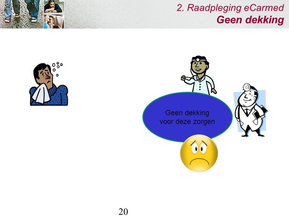 20 2. Raadpleging eCarmed Geen dekking Geen dekking voor deze zorgen