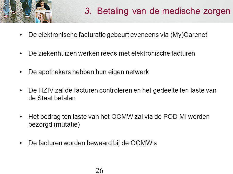 26 3. Betaling van de medische zorgen De elektronische facturatie gebeurt eveneens via (My)Carenet De ziekenhuizen werken reeds met elektronische fact