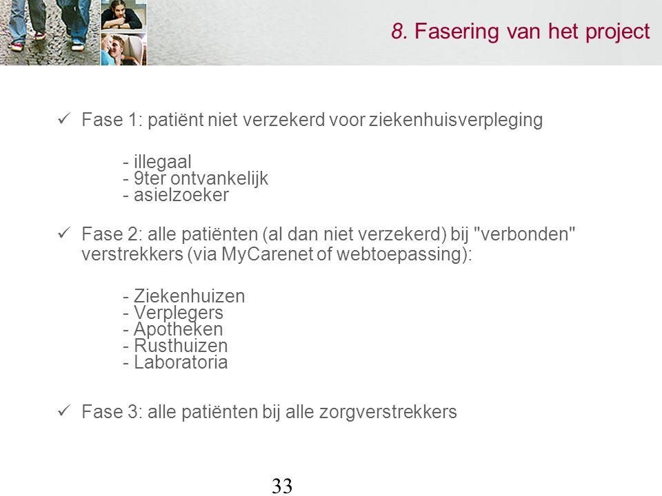 33 8. Fasering van het project Fase 1: patiënt niet verzekerd voor ziekenhuisverpleging - illegaal - 9ter ontvankelijk - asielzoeker Fase 2: alle pati