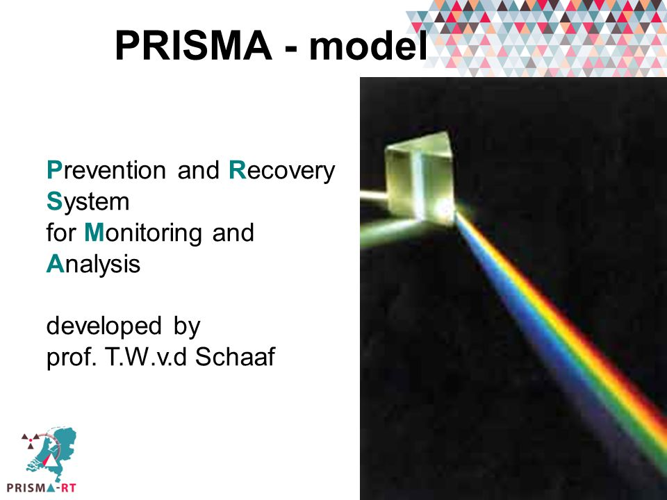 PRISMA - model Prevention and Recovery System for Monitoring and Analysis developed by prof. T.W.v.d Schaaf