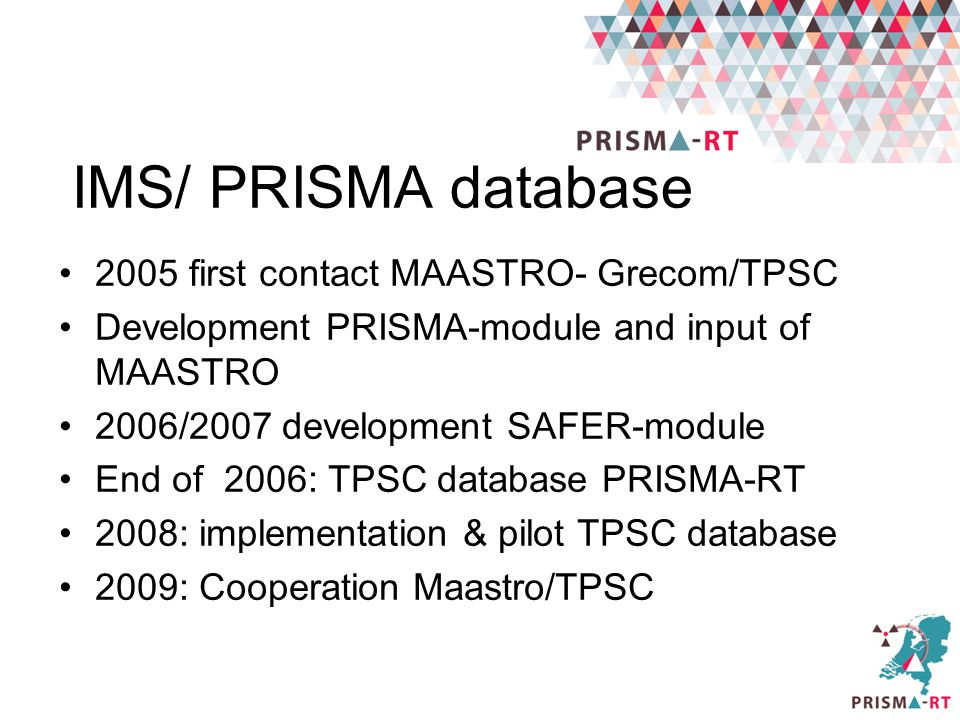 IMS/ PRISMA database 2005 first contact MAASTRO- Grecom/TPSC Development PRISMA-module and input of MAASTRO 2006/2007 development SAFER-module End of